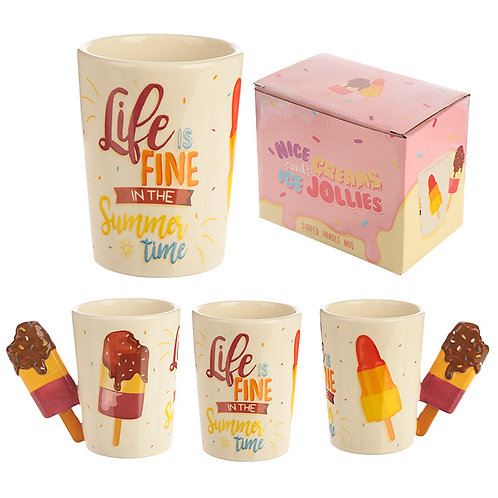 Collectable Shaped Handle Mug - Summer Ice Lolly with Slogan Novelty Gift