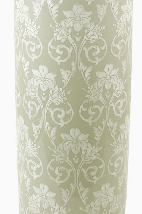 Ceramic Embossed Umbrella Stand, Grey/White Floral Design Shipping furniture UK