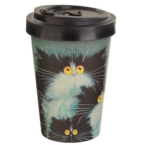 Bamboo Composite Kim Haskins Screw Top Cat Travel Mug Novelty Gift