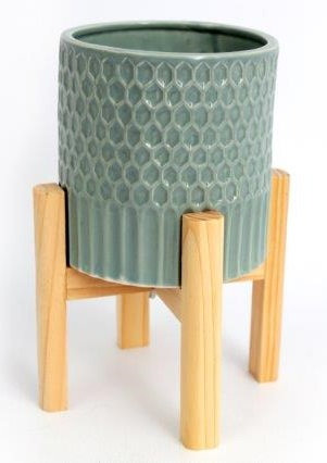 Large Ceramic Teal Coloured Planter On Wooden Stand Shipping furniture UK