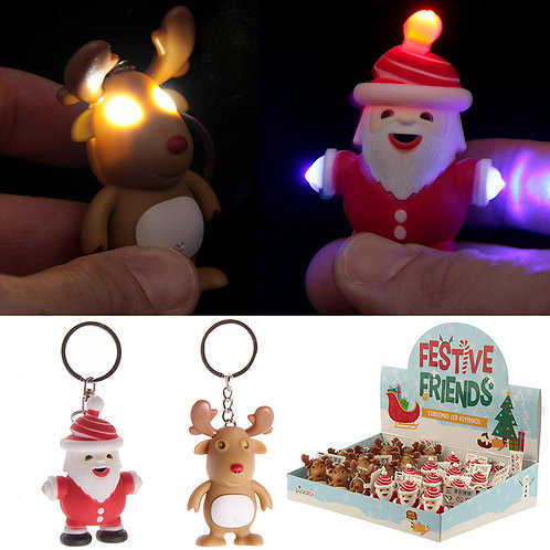 Funky Christmas Light Up and Sound Key Ring Novelty Gift