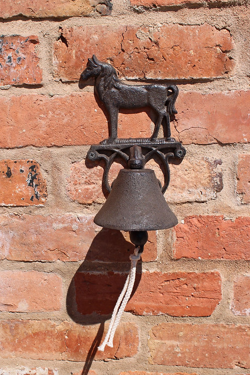 Rustic Cast Iron Wall Bell, Horse Shipping furniture UK