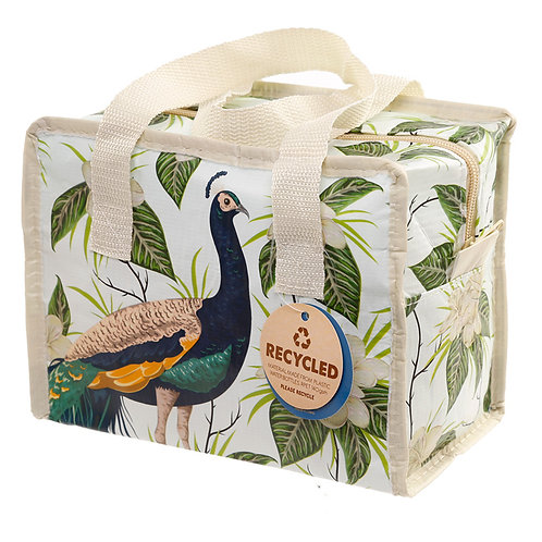 Peacock Zip Up Recycled Plastic Reusable Lunch Bag Novelty Gift