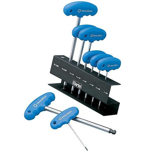 Clarke PRO61 8-Pce A/F T-Handle HEX Key Set | DIY Bargains