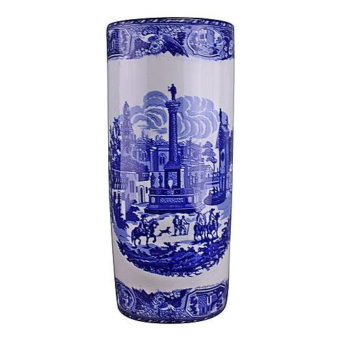 Umbrella Stand, Vintage Blue & White Townscape Design Shipping furniture UK