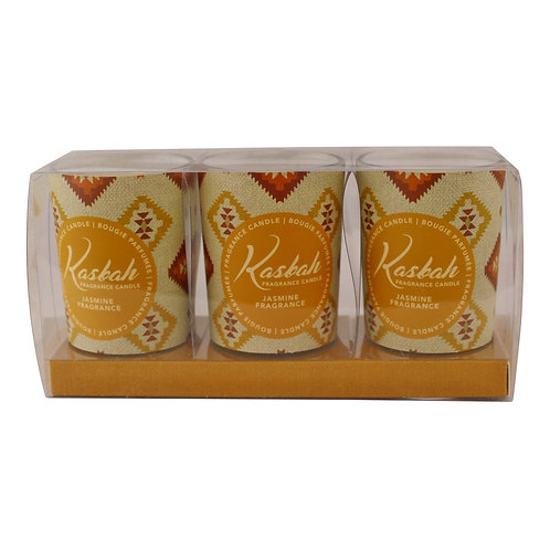 Set of 3 Kasbah Votive Candles in Jars, Jasmine Fragrance Shipping furniture UK