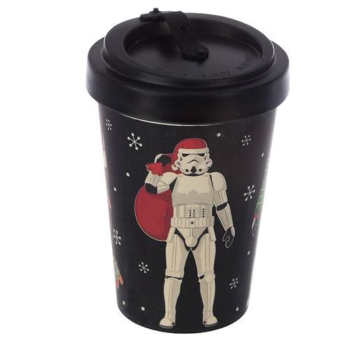 Bamboo Composite Stormtrooper Christmas Black Screw Top Travel Mug Novelty Gift