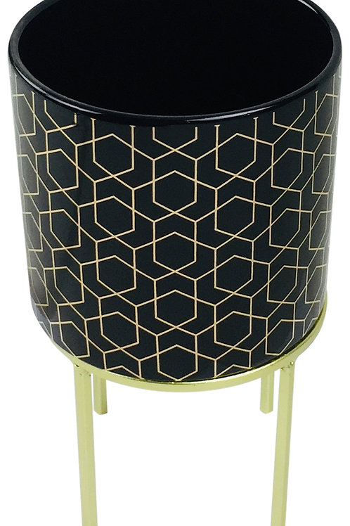 Art Deco Black Electroplated Pots 21cm Shipping furniture UK