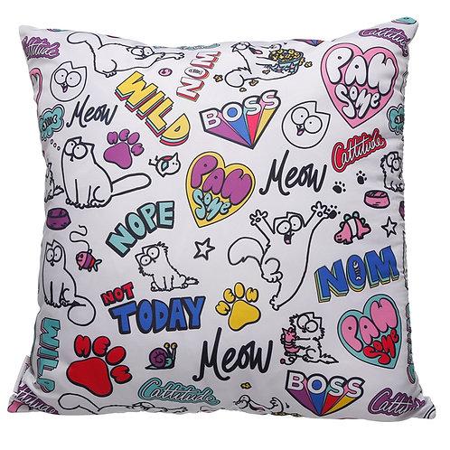 White Simon's Cat Pawsome Cushion with Insert 50 x 50cm Novelty Gift