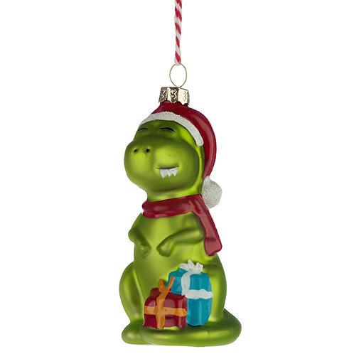 Glass Christmas Bauble - Dinosaur Novelty Gift