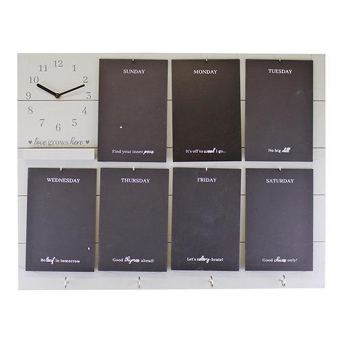 Weekly Reminder Chalkboard With Clock & Hooks Shipping furniture UK