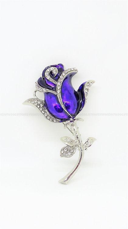 (4GB) USB Purple Flower Pin Brooch