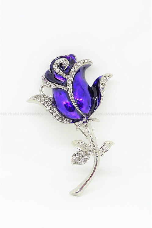 (4GB) USB Purple Flower Pin Brooch