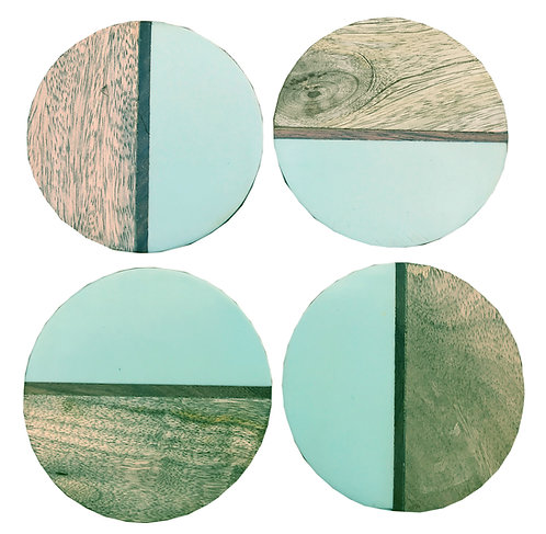 Set Of 4 Round Two Toned Wooden Coasters - Green Shipping furniture UK