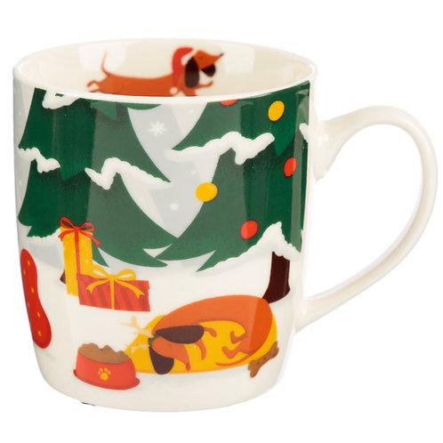 Christmas Porcelain Mug - Dachshund through the Snow Novelty Gift