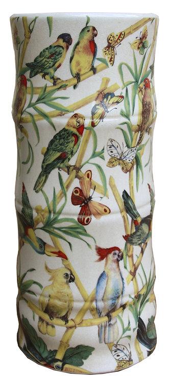 Ceramic Umbrella Stand, Bamboo And Tropical Bird Design Shipping furniture UK