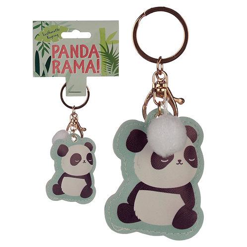 Fun Leatherette Panda Keyring Novelty Gift