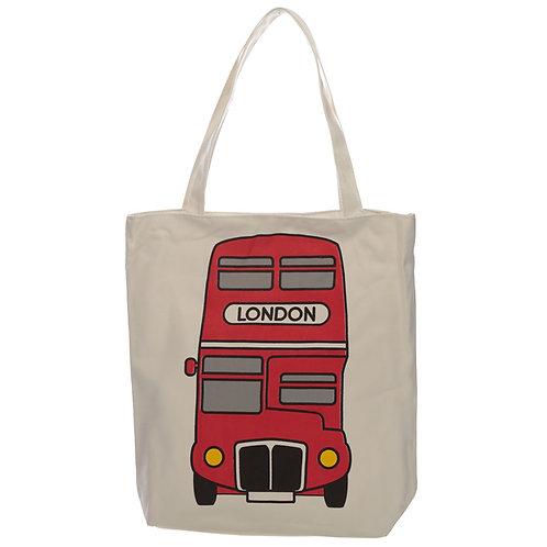 Handy Cotton Zip Up Shopping Bag - London Bus Novelty Gift