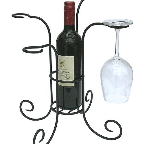 Black Metal Wine Bottle And 4 Glass Holder Shipping furniture UK