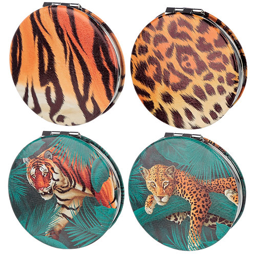 Fun Collectable Big Cat Spots and Stripes Compact Mirror Novelty Gift