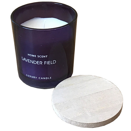 Purple Glass Candle With Wooden Lid - Lavender Field Shipping furniture UK