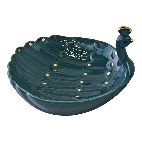 Ceramic Peacock Trinket Dish Shipping furniture UK