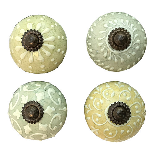 Set Of Four Pastel Green/ Blue Coloured Door Knobs Shipping furniture UK