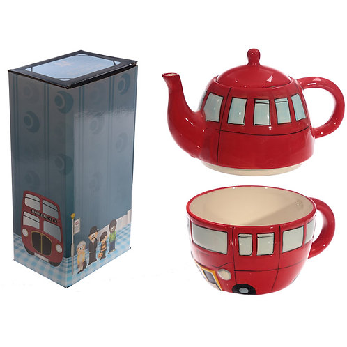 Fun Novelty Routemaster Red Bus Teapot and Cup Set for 1 Novelty Gift