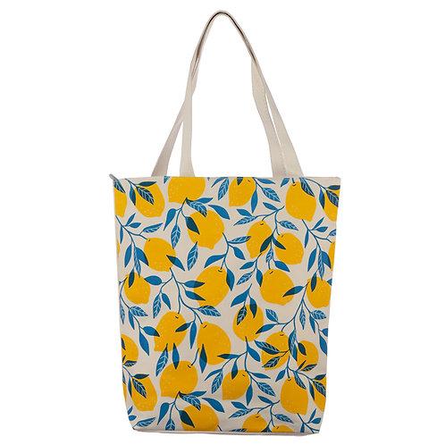 Handy Cotton Zip Up Shopping Bag - Lemons Novelty Gift