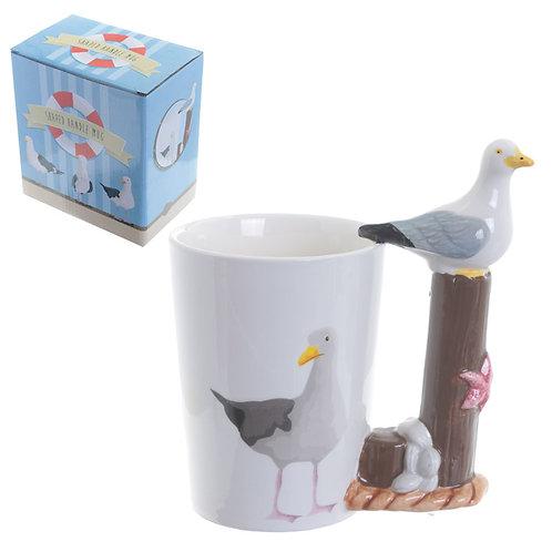 Fun Seagull Shaped Handle Ceramic Mug Novelty Gift