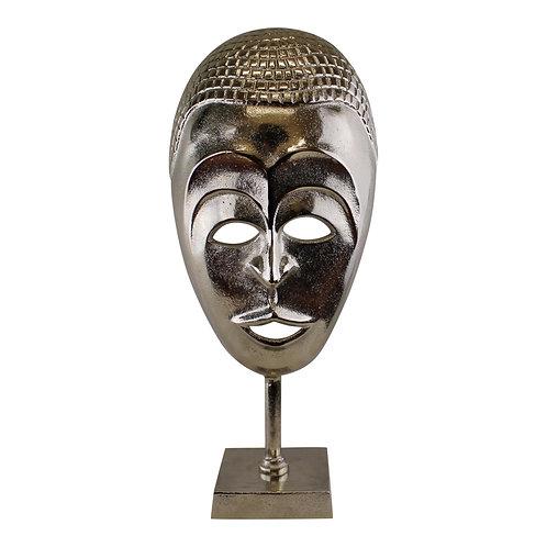 Silver Metal Tribal Mask Sculpture Shipping furniture UK