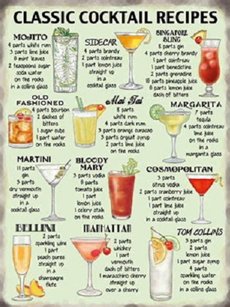 Classic Cocktails Recipe Sign 30cm x 40cm Shipping furniture UK