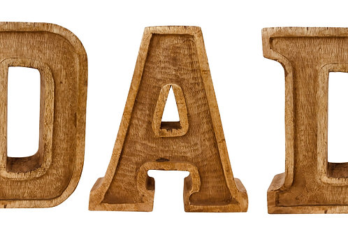 Hand Carved Wooden Embossed Letters Dad Shipping furniture UK