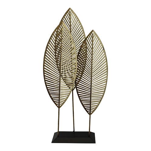 Three Leaf Metal Standing Ornament, 51cm. Shipping furniture UK