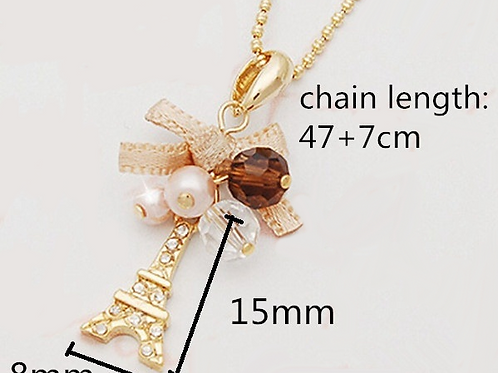Women Pendant Necklace Eiffel Tower Plated Crystal Gold Necklace Gift For Mum