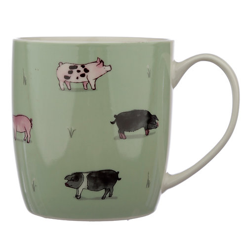 Collectable Porcelain Mug - Willow Farm Pigs Novelty Gift
