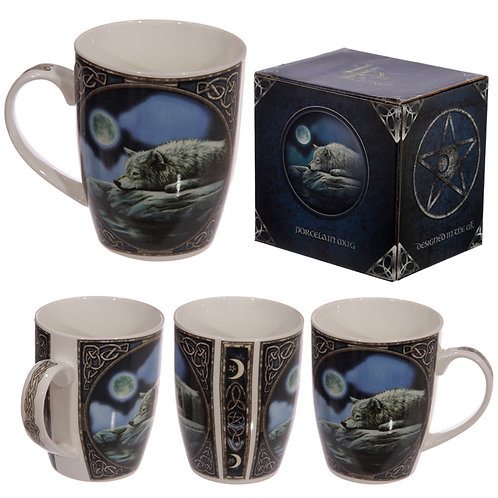 Fantasy Wolf Lake Design Porcelain Mug Novelty Gift