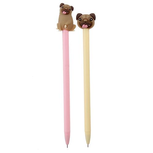 Mopps Pug Topper Pen Novelty Gift [Pack of 2]
