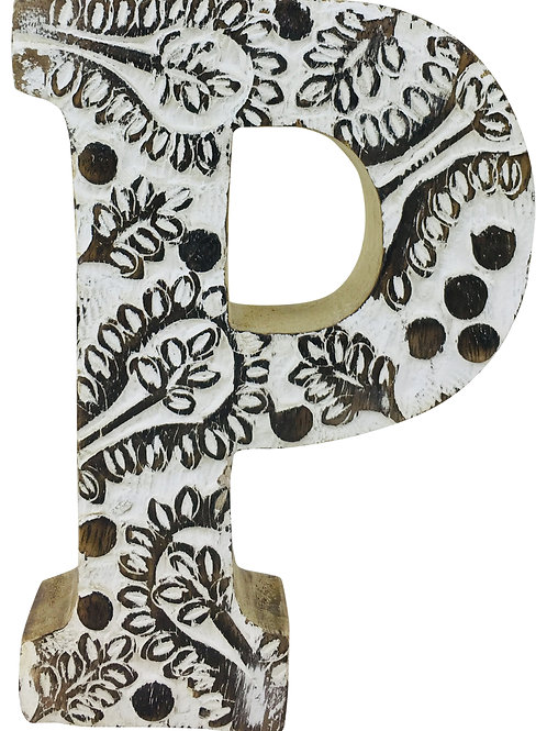 Hand Carved Wooden White Flower Letter P Shipping furniture UK