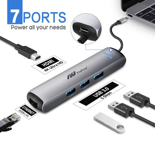 USB C Hub 7 in 1, All-in-One Dongle Multiport HDMI Adapter & Etherner port