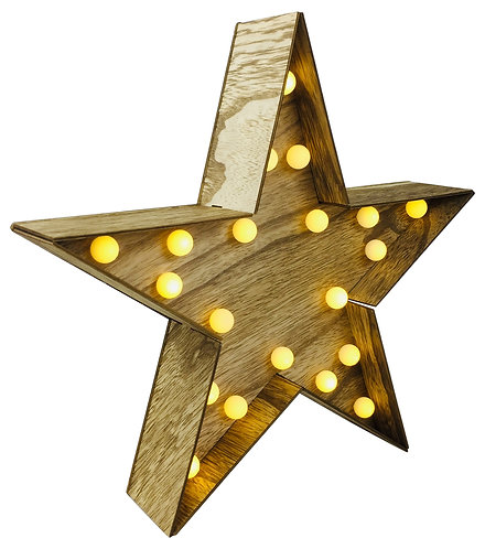 Wooden Star With LED Lights 30cm Shipping furniture UK