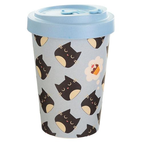 Bamboo Composite Feline Fine Cat Screw Top Travel Mug Novelty Gift