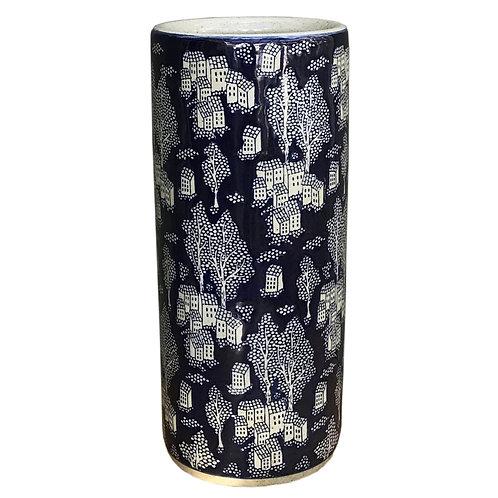 Ceramic Embossed Umbrella Stand, Blue/Natural Village Shipping furniture UK