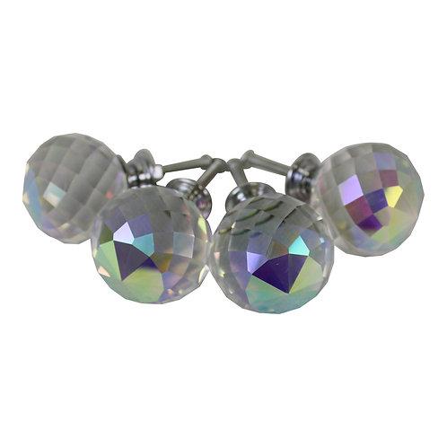 4cm Crystal Effect Doorknobs, Spherical, set of 4 Shipping furniture UK
