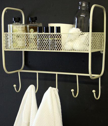 Mesh Wall Shelf With 5 Hooks Cream Shipping furniture UK