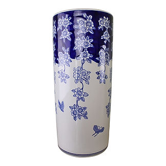 Umbrella Stand, Blue & White Flowers and Butterfly Design Shipping furniture UK