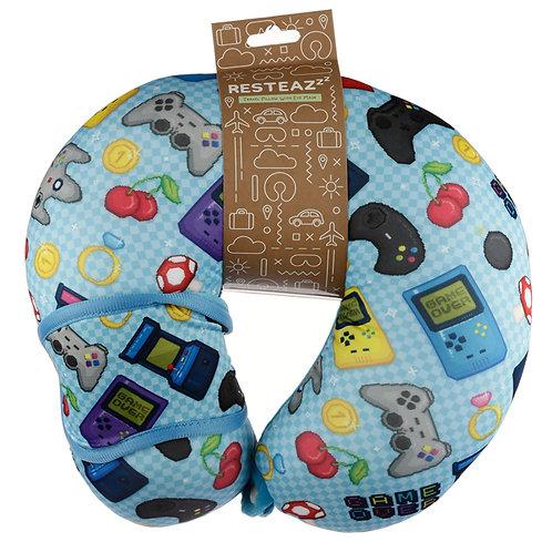 Retro Gaming Game Over Relaxeazzz Travel Pillow & Eye Mask Set Novelty Gift