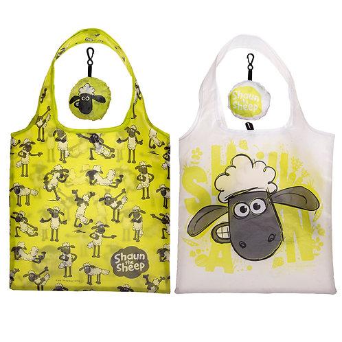 Handy Fold Up Shaun the Sheep Shopping Bag with Holder Novelty Gift