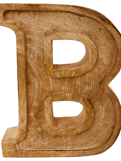 Hand Carved Wooden Embossed Letter B Shipping furniture UK