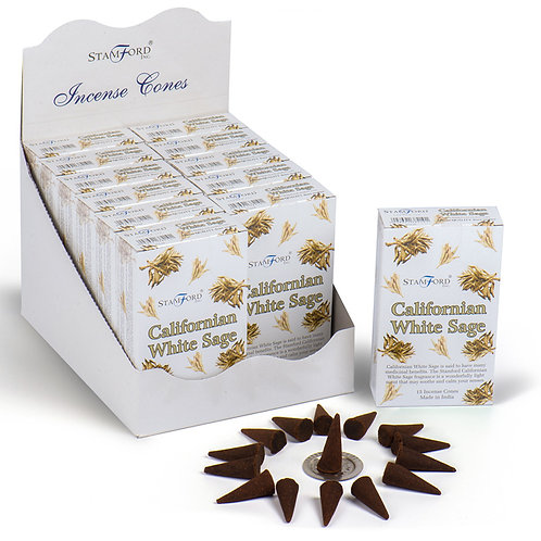 Stamford Hex Incense Cones - Californian White Sage Novelty Gift [Pack of 12]